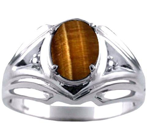 Para hombre de ojo de tigre y anillo de diamante 14K oro blanco