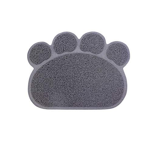 ExeQianming, tappetino per lettiera per cani e gatti, a forma di artiglio, per bere e mangiare (grigio, 30 x 37 cm)