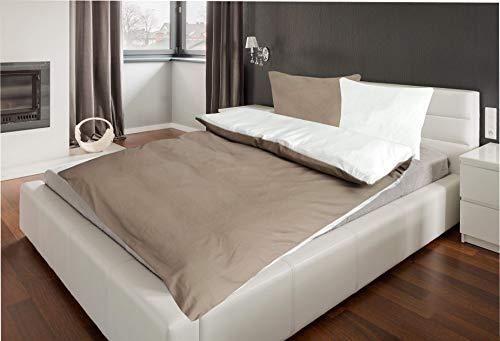 MB Warenhandel24 Bettwäsche Doppelpack 4-Teilige Hochwertige Renforcé aus 100% Baumwolle Uni Wende Creme/Taupe 2X 135x200 Bettbezug + 2X 80x80 Kissenbezug