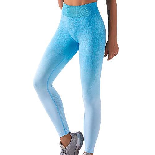 BOIYI Mallas de Deporte de Mujer, Leggins Pantalones Deporte Yoga Degradada de Color, Leggings Mujer Fitness Suaves Elásticos Cintura Alta para Reducir Vientre(Verde,M)