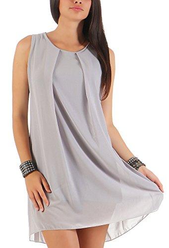 Malito Damen Kleid ärmellos | Elegantes Minikleid | Etuikleid mit Unterkleid | Etuikleid mit Rücken Cut-Out 6877 (hellgrau)