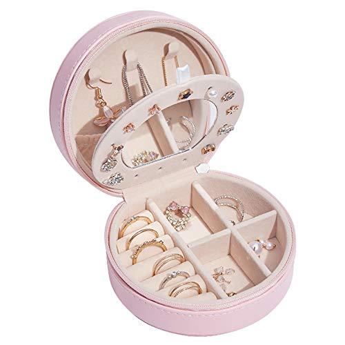 Joyero 4.3 pulgadas de cuero sintético,organizador de pulseras de viaje, estuche de almacenamiento,anillos pequeños,collar,pendientes, exhibición,organizador de almacenamiento Pink