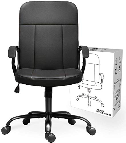 Statesville Mid Back Bonded Leather Desk Swivel Computer Task Office Ergonomic Executive Chair with Armrests, Black