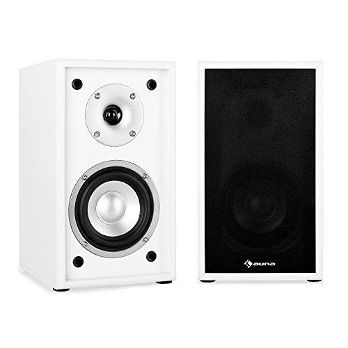auna - Linie 300 SF-WH, Regallautsprecher, Lautsprecher-Boxen, HiFi-Boxen, Lautsprecher-Paar, 2-Wege-System, 13cm (5