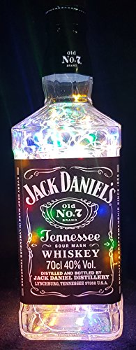 Jack Daniels – Botella lámpara con 80 ledes multicolor upcycling regalo Idea