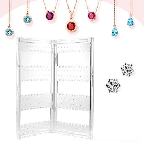 Suporte do suporte da tela de brinco, suporte plástico transparente da cremalheira de exposição de 120 furos para a joia