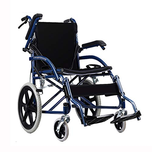 silla de ruedas Plegable y Liviana con 4 Frenos Apoyabrazos abatibles Prueba de pinchazos propulsada por un Operador Tránsito portátil Silla de Viaje Scooter para a