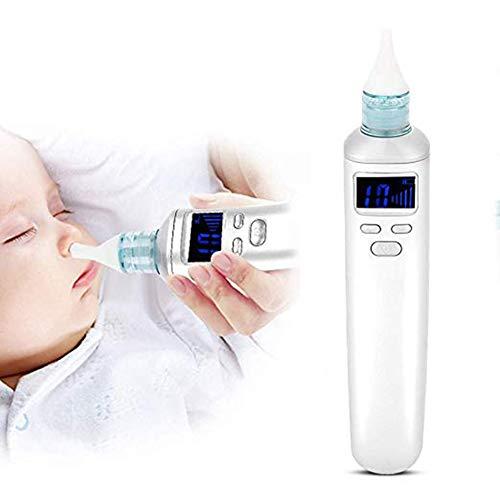 Aspirador nasal para bebés, aspirador nasal eléctrico, lavable y reutilizable, 3 niveles de succión con puntas de silicona de 3 tamaños, succión de nariz rápida, para recién nacidos y niños pe