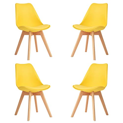 Comfortableplus - Set di 4 sedie da cucina in legno, stile retrò, imbottite, sedia da ufficio con gambe in legno di faggio massiccio (giallo_4 pezzi)