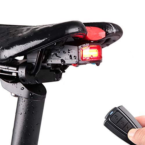 Luz trasera para bicicleta, brillante linterna de seguridad para bicicleta, con alarma antirrobo trasera, batería de litio integrada de 700 mAh, 3 opciones de modo de luz, resistente al agua