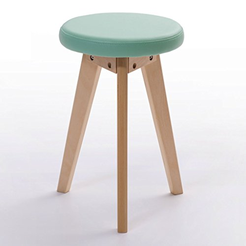 Banc rond en bois massif tabouret simple à la maison tabouret coloré tabouret de dressage en tissu (Color : Green, Size : Wood color frame)