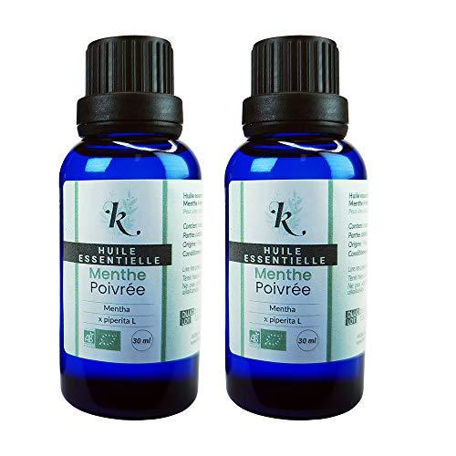 KLARCHA - Duo XL Menthe Poivrée 2 x 30 ml - Huile Essentielle Artisanale Bio HEBBD - 100% Pure et Naturelle - Issue de l'Agriculture Biologique - Label ECOCERT - Sans OGM - Conditionnée en France