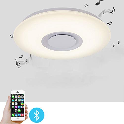 Led Music Ceiling Light, 24W Color-Changing Kids Bedroom Bluetooth Lamp Ceiling Fixtures Flush Mount & Speaker (All Colors)