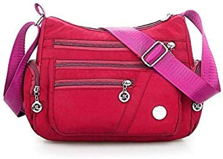Bloomerang Women Female Nylon Shoulder Bag Tote Waterproof Handbag Messenger Satchel Multi Pockets color Hot Pink