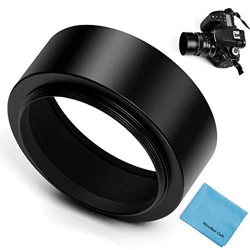 Fotover Pare-soleil d'objectif standard à visser en métal avec bouchon central pour Canon Nikon Sony Pentax Olympus Fuji Sumsung Leica 58 mm + chiffon de nettoyage