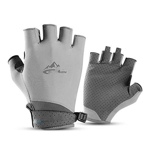 Bicycle Gloves, Running Gloves, Non-Slip, UV-Resistant, Breathable, Half-Finger Short-Finger Sports Gloves, Men and Women Accessories - Grey,S