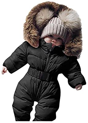 Newborn Infant Baby Boys Girls Snowsuits Hoodie Jumpsuit Winter Warm Padded Thick Coat Outfit (Black, Recommended Age:0-3 Months)