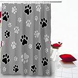 AdaCrazy Pawprint Negro Paw Track para Perros Patrón de Color Gris Gray Dog Cat Microfibra Baño Cortina de baño Cortina de baño Moderna 71x71 Pulgadas Incluye 12 Ganchos de plástico