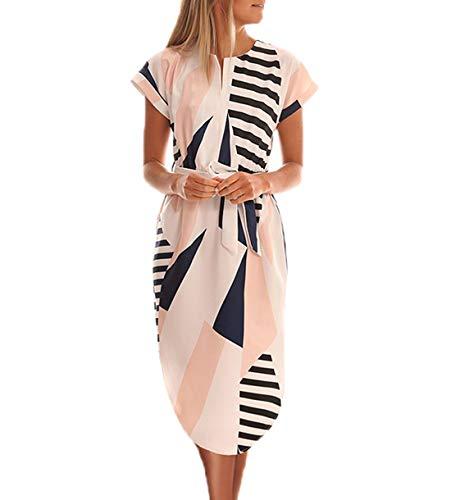 Ajpguot Vestido de Verano Mujer Impresión Midi Vestidos de Playa Elegante Largo Vestido de Fiesta V-Cuello Manga Corta Vestido con Cinturón