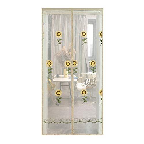 HMM Sonnenblume Magnet Fliegengitter Tür 110x210cm Gegen Mücken Flausch Tür Automatisches Schließen Insektenschutz Für Balkontür Wohnzimmer Terrassentür