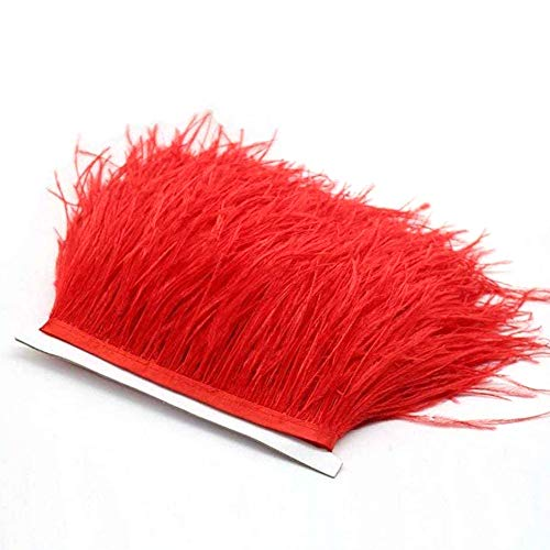 Flecos de plumas de avestruz de 34 colores para hacer sombreros o vestidos rosso