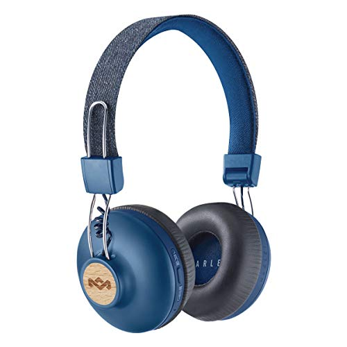 House of Marley Positive Vibration 2 Cuffie Bluetooth Wireless con Microfono, Diver da 40 mm, Design Confortevole On-Ear, Pieghevole, Blu/Legno