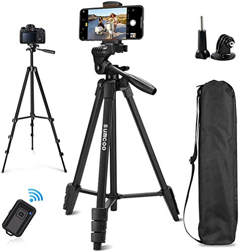 Cell Phone Tripod, sumcoo 53' Extendable Aluminum Travel Tripod for Camera with Bluetooth Remote Shutter and Phone Clip, Compatible with iPhone & Android Phone
