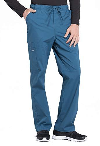 Cherokee Workwear Professionals Men's Tapered Leg Drawstring Cargo Scrub Pant, M, Caribbean Blue