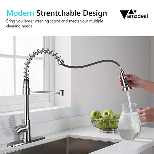 Amzdeal Pull Down Kitchen Faucet, Kitchen Faucet with Pull Down Sprayer, Single Handle and High Arc Kitchen Sink Faucets with Deck Plate, Brushed Nickel