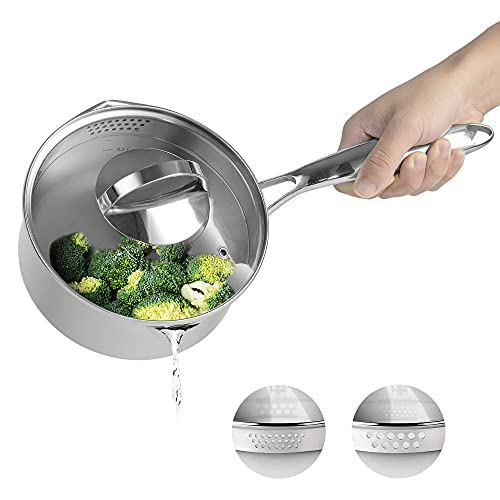 Fracoda Stainless Steel Saucepan with Glass Lid, 2.5 Quart Pot with Strainer Lid, Two Side Spouts for Easy Pour, Multipurpose Sauce Pan, Sauce Pot