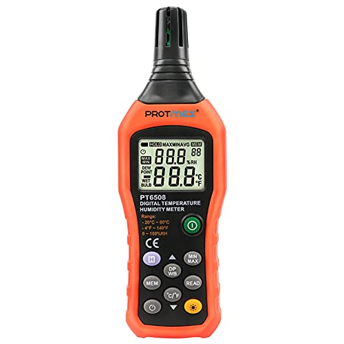 Protmex Digital Temperature Humidity Meter, Thermometer Hygrometer Indoor and Outdoor with Dew Point and Wet Bulb, Min/Max Hold, LCD Backlight, PT6508 (Batteries Included)