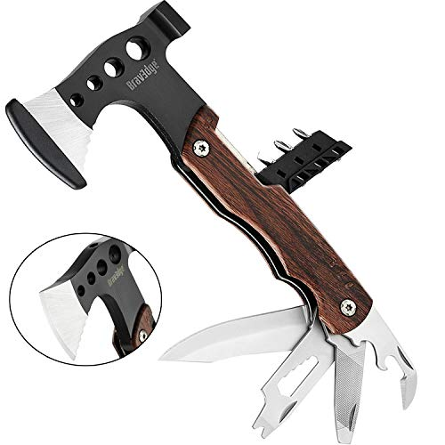 Bravedge Multitool Axe, Pocket Multi Purpose Hatchet with Knife, Wrench, Nail File, Opener, Sreewdriver Kit, Stainless Steel Multi Tool Chopping Axe for Camping, Backpacking, Hunting, Survival