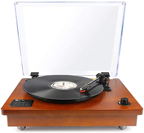 1byone Belt Driven Turntable with Built in Stereo Speaker, Wireless Connection Vintage...