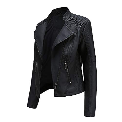 Geagodelia Giacca Donna Elegante Primaverile Corta in PU Similpelle con Zip Tasche Laterali Casual per Moto (Nero, S)