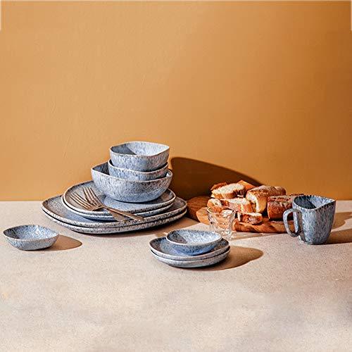 WDSWBEH Vajillas Irregulares Modernos: Serie de Gotas de Lluvia Azul, Platos/Platos de Porcelana, Platos y Cuencos, Placa de Postre, Placa de Pasta, Taza de Agua, tazón de Sopa,17pieces