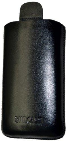 Suncase - Custodia originale in vera pelle, con linguetta con funzione retrattile, per Sony Xperia Go, Nero