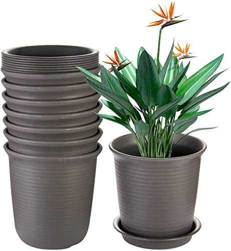 Akarden 7.2 Inch Flower Pots, Pots with Drainage Hole, Plastic Flower Pots with Pallet(8 Pack)