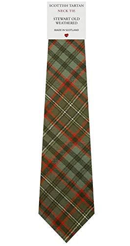 I Luv Ltd Cravate en Laine pour Homme Tissée et Fabriquée en Ecosse à Stewart Old Weathered Tartan