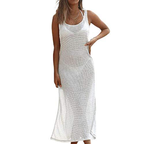 Damen Sommerkleid Bikini Cover Up Strandkleid Lang MaxiKleid mit Schlitz Träger Top Longshirt Strand Boho Kleider (Weiß, M)