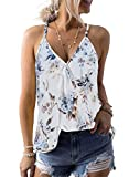 AlvaQ Womens Summer Casual V Neck Bohemia Floral Print Sleeveless Tank Tops Caims Shirts White Small