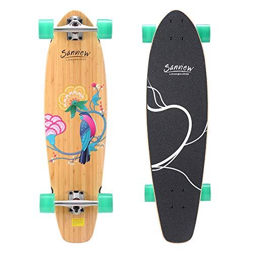 Sanview Longboard-Skateboard aus Bambus, 86,4 cm, für Kinder und Erwachsene
