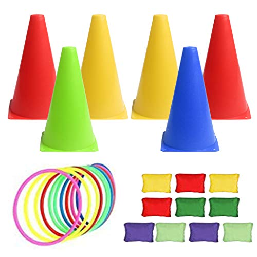 angwang Bean Bags for Tossing Throwing 3 in 1 Puzzle Game Pack Outdoor Play Equipment Set for Birthday/Carnival/Garden Party