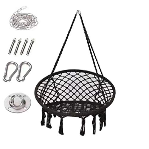 Swing Chair Hanging Chair with Soft Cushion & Durable Hanging Hardware Kit, Comfortable Macrame Hammock,Sturdy Hanging Chairs, for Indoor, Outdoor, Home, Patio, Yard, Garden (Black)