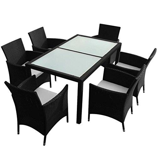 vidaXL Juego de Comedor de Jardín 7 Piezas Muebles de Exterior Mesa y Sillas Mobiliario de Patio Exterior Terraza y Poli Ratán Sintético Negro Mimbre