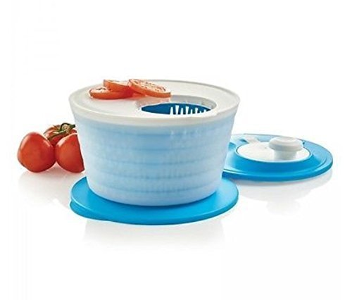 Tupperware Salad Spinner in Salt Water Taffy Blue with Cutting Board in White