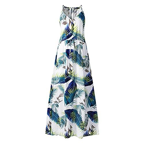 Liably Vestido elegante para mujer, bohemio, con tirantes, falda larga, para verano, holgado, estilo retro, multicolor, de punto verde M