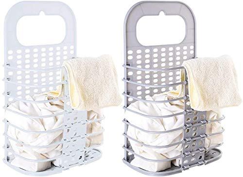MIAOKE 2 Stück Zusammenklappbarer Wäschekorb, Wäschekorb mit GriffOrganizer, Platzsparender Korb für die Organisation