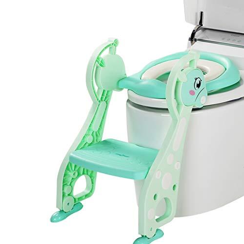 XL- Toilettentrainer mit Treppe - verstellbares Kleinkind Töpfchen-WC-Sitz für Jungen & Mädchen, robust & rutschfest (Farbe : Grün)