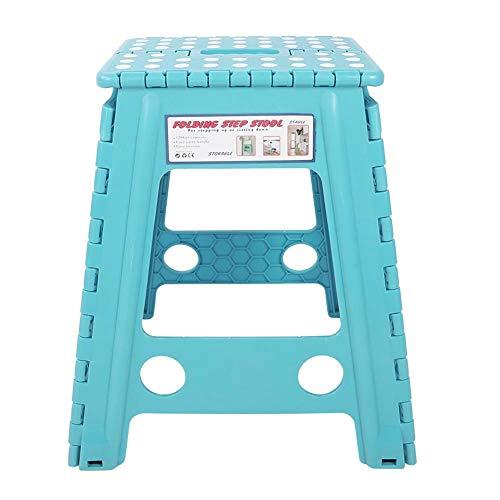 Telituny Plast pall-bärbar levande plast poäng hopfällbar trappstol halkfri vikbar vuxen stol (vit blå)
