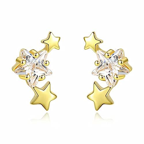 Qings Pendientes de Estrella Triple Oro Plata de Ley 925 con Circonitas CúBicas Pendientes Mujer Pequeños Estrellas Egados A La Oreja Lindo Delicada para Niña Adolescente Hija